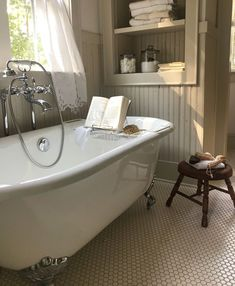 From the hexagon tiled floor and salvaged beadboard paneling, to the Battenburg Lace curtains, we're so happy our Randolph Morris Cambridge Clawfoot Tub & tub caddy have a special place in this whimsical farmhouse bathroom. Clawfoot Tub Bathroom, Bathroom Renos, Small Bathroom, Beadboard In Bathroom, Bathroom Ideas, Cottage Style Bathrooms, Rustic Bathrooms, Dream Bathrooms, Tub Shower Combo