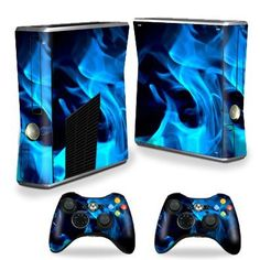 Protective Vinyl Skin Decal Cover for Microsoft Xbox 360 S Slim + 2 Controller Skins Sticker Skins Blue Flames (670541432617) 5 Piece Skin Kit- Covers the Microsfot Xbox 360 S Slim Console and 2 Controllers Ultra High Gloss Finish Will Not Scratch, fade or Peel No Sticky Mess Guaranteed Proudly Made in the USA Microsfot Xbox 360 S Slim Not Included