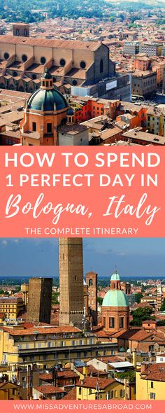 How To Spend 1 Perfect Day in Bologna: The Complete Experience  ·  Discover the perfect itinerary for 1 day in Bologna, Italy. This charming city in Northern Italy has so much to offer-historic sites, delicious food, amazing architecture, and more! You won't want to miss these must-see places in Bolognia! A great addition to any traveler's Italy Itinerary #italyitinerary