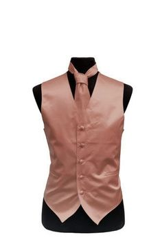 Vest in Rose gold Poly-Satin. Full back, five buttons adjustable vest with two real pockets. Comes with matching NECKTIE. The lining and back are