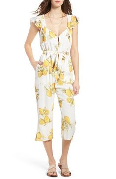 Free shipping and returns on For Love & Lemons Limonada Crop Jumpsuit at Nordstrom.com. Light up the room wherever you go in this cheerful lemon-print jumpsuit with a flattering portrait neckline, sweet flutter sleeves and waist-cinching tie belt.