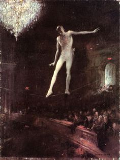 'The Tightrope Walker' by Everett Shinn, 1924. Oil on canvas Everett Shinn (1876 – 1953) was an American realist painter, illustrator, designer, but also a playwright who was best known for his images of the theatre and a member of the Ash can School. He studied industrial design in Philadelphia from 1888–1890, and in 1893, he enrolled in the Pennsylvania Academy of the Fine Arts. At the same time, Shinn supported himself as an artist-reporter for the Philadelphia Press.
