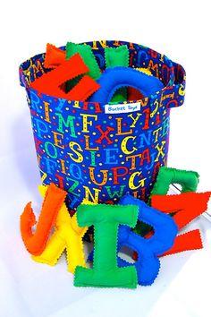ABC Primary Uppercase Aphabet Letters Plush Fabric Bucket Toy