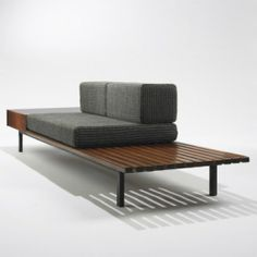 Charlotte Perriand 					bench with drawer from Cité Cansado, Mauritania   					 						Galerie Steph Simon France , 1958 oak, enameled steel, laminate v15