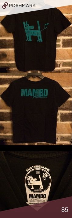 Boys 12 Black Tee Shirt Boys 'Mambo' Tee. Tag says M. This will fit a 10/12. A little fading of the black, otherwise, perfect condition. Slight V-neck. Mambo Shirts & Tops Tees - Short Sleeve