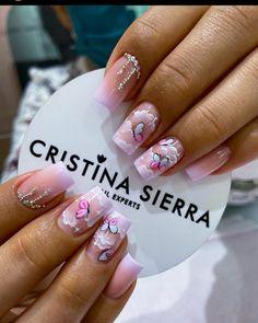 Coffen Nails, Pink Nails, Acrylic Nails, Semi Permanente, Butterfly Nail, Nail Decorations, Pedicure, Nail Designs, Nail Art