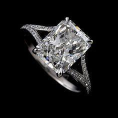 Diamond Split Shank Engagement Ring, 3CT Radiant Cut Stone Proposal Ring, Diamond Micro Pave Set Engagement Ring, Modern Style Ring Setting by OroSpot on Etsy https://www.etsy.com/listing/151900382/diamond-split-shank-engagement-ring-3ct
