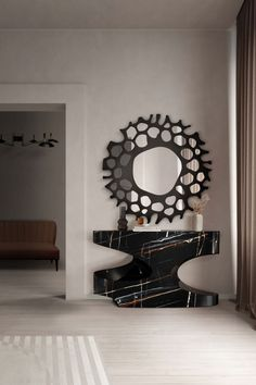 The BRYCE II Console Table is an incredible, modern and urban table impeccably combined with the wonderful and elegant HELIOS Mirror for unique hallway decor.  #entrywaydesign #hallwaysdesign #contemporaryentryways #modernentryways #classicentryways #mid-centuryentrywyas #eclecticentryways