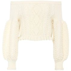 Valentino Cropped Off-the-Shoulder Wool Sweater (€2.025) ❤ liked on Polyvore featuring tops, sweaters, shirts, white, white off shoulder sweater, off shoulder crop top, white shirt, wool sweaters and crop top