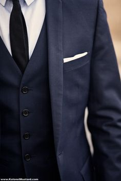Navy Blue Suit and Vest for Hectors Groomsmen