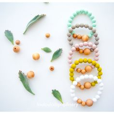 Organic Wood and Silicone Beads Bracelet by LouLouLollipopFinery