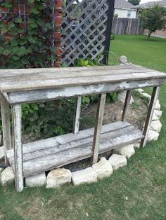 Chippy Table Project - made from salvaged wood she had & the legs are made from a window frame.  Clever!!!