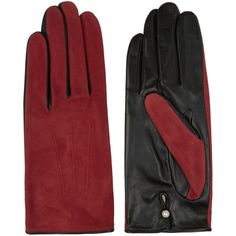 Agnelle Silk-lined suede and leather gloves (595 HRK) ❤ liked on Polyvore featuring accessories, gloves, red, lined gloves, suede gloves, red gloves, agnelle gloves y cashmere-lined leather gloves