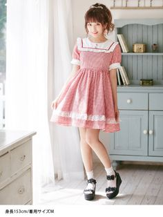 dreamv | Rakuten Global Market: One piece スクエアフリルレースフリルギンガムチェックドール Dolly babe big size girly Lolita clothes miss our spring-summer short sleeve knee on short flaring neck zip, mint red black red black m L LL / available.! Dream vision