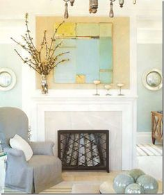 Notice the assembly of white birch in an unused fireplace. Prettier than the usu. - Decoration Fireplace Garden art ideas Home accessories Unused Fireplace, Fireplace Garden, Fireplace Mantle, Fireplace Ideas, Home Design, Interior Design, Interior Ideas, Design Ideas, Southern Accents