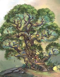 The Home Tree in Pixie Hollow - disney-fairies Photo Hades Disney, Tinkerbell Fairies, Disney Fairies, Tinkerbell Disney, New Fantasy, Fantasy World, Disney Kunst, Disney Art, Disney Wiki