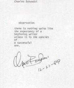 Charles Bukowski -Observation