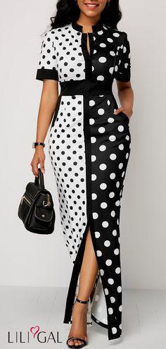 Front Slit Polka Dot Print High Waist Dress - Trend Way Dress African Fashion Dresses, African Dress, Fashion Outfits, Womens Fashion, Ankara Fashion, Dress Fashion, Girl Fashion, Maxi Dress With Sleeves, Dress Skirt