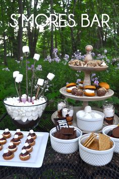 When the sun goes down and the fireflies come out- treat your guests to a S'mores Bar.