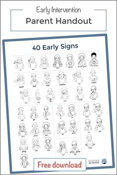 Parent education on teaching sign language to toddlers and early communicators to reduce frustrations. Includes FREE handout of 40 Early Signs. Lia Kurtin I Speech and Language at Home Baby Sign Language Chart, Sign Language For Toddlers, Sign Language Book, Simple Sign Language, Sign Language Phrases, Sign Language Alphabet, Sign Language Interpreter, British Sign Language, Learn Sign Language Free