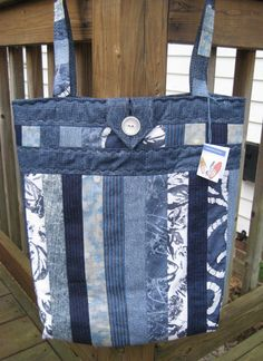 Padded quilted tote bag in blues and denim , large denim tote , blue denim tote