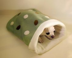 SMALL - Custom Double Layer Fleece Burrow Bag - Pet Sleeping Bag Blanket - Polka Dots - 12 x 18 - Great for Travel Bed