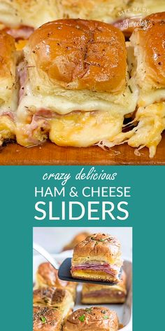 HAM AND CHEESE SLIDERS HAM AND CHEESE SLIDERS perfect game day snacks and a great way for using up any leftover ham. Best of all, super easy to make with oven roasted ham, two cheeses and buttery garlic sauce over Hawaiian rolls. Ham Cheese Sliders, Hawian Roll Sliders, Ham And Swiss Sliders, Chicken Sliders, Ham Cheese Sandwiches, Oven Sliders, Hamburger Sliders, Ham And Cheese Croissant, Mini Sliders