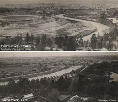 YARRA RIVER DIVERSION: The straightening and widening of the Yarra river between the City and Richmond, between 1896 and 1900. The aim of the diversion was to eliminate a sharp S-bend in the Yarra River which would've alleviated flooding upstream and provided a smooth flow of water downstream.  The top photo, taken in 1898 shows the original course of the river and the construction of the new channel. The bottom photo was taken in 1917  Photos: State Library of Victoria Melbourne Victoria, Victoria Australia, Old Pictures, Old Photos, Melbourne Suburbs, St Kilda, History Photos, Melbourne Australia, Historic Homes