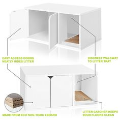 Hide your cat's toilet facility from sight while allowing her free access with the Litter Box Cabinet from Way Basics. Modern classic furniture design features a litter box section with doors, plus a scratching area with included pad. Hiding Cat Litter Box, Cat Litter Box Enclosure, Hidden Litter Boxes, Best Cat Litter, Litter Box Covers, Grand Chat, Cat Toilet, Ikea Furniture, Furniture Design