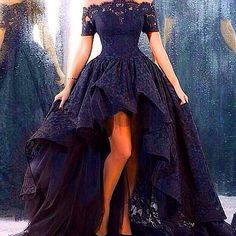 Myriam Fares evening celebrity dresses off the shoulder short sleeve lace hi lo organza ball gown black wedding dresses prom dress BO8405