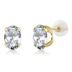 3.00 Ct Oval 7x5mm White Zirconia 14K Yellow Gold Stud Earrings