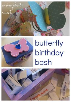 """A simple, sweet butterfly birthday party idea, with DIY """"ME"""" boxes as an activity - very sweet way to have a birthday party """"playdate"""" that lets the kids leave with something special (and longer-lasting than a sugar-high!)"""