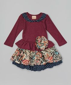 Love this Violet & Navy Floral Ruffle Dress - Toddler & Girls by Lele Vintage on #zulily! #zulilyfinds