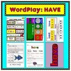 Inside this title you will find six exciting reproducible activities for the study of the sight word HAVE (and all for just a buck! Sight Word Activities, Word Play, Sight Words, Lettering, Free, Kindergarten, Study, Puns, Studio