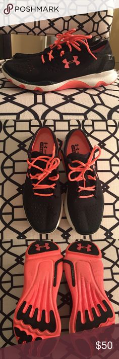 Under Armour running shoes!! These running shoes are so light and comfortable you're not going to want to take them off! They've only been worn twice. I love me a good pair of running shoes and because I have so many of them already I'm letting go of these since I have not worn them in a while now and they have so much life left. I figured someone should get good use of them!! No longer have the box, as you can tell by the pictures I like my shoes on display in my closet. ⭐️ Accepting…