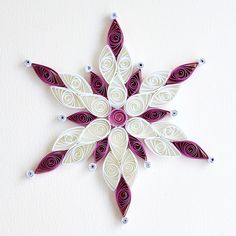 6 point white and purple Quilled snowflake with si - Best Paper Quilling Designs Paper Quilling Tutorial, Paper Quilling Patterns, Quilled Paper Art, Quilling Paper Craft, Paper Crafts, Quilling Ideas, Paper Ornaments, Snowflake Ornaments, Quilling Christmas