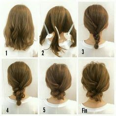 Updo on short hair.