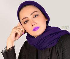 عکس آتلیه شیلا خداداد بازیگر زن با رژ لب بنفش
