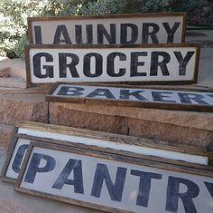 Custom Wood Sign Bakery Market Laundry Pantry Grocery Made to Order Distressed Farmhouse Decor by TheGreenElephantShop on Etsy https://www.etsy.com/listing/292698875/custom-wood-sign-bakery-market-laundry