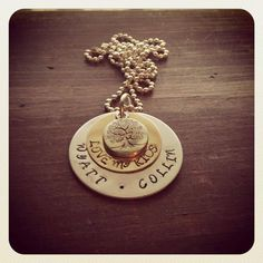 Hand Stamped Aluminum and Brass Necklace on Etsy, $22.00