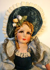 Delicate old doll boudoir lounge, antique doll