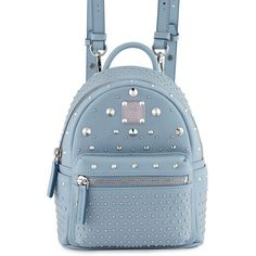 MCM Stark Special Bebe Boo Leather Backpack ($1,100) ❤ liked on Polyvore featuring bags, backpacks, sky blue, genuine leather backpack, mcm backpack, mcm, detachable backpack and leather knapsack