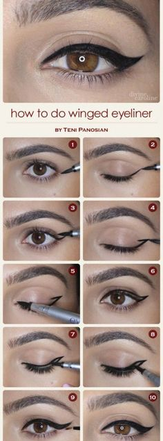 10 Easy Step-By-Step Eyeliner Tutorials For Beginners: #6. Natural Winged Eyeliner Look – Step By Step Eyeliner Tutorial #wingedlinereasy #wingedlinernatural