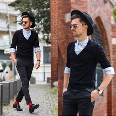Blog post: http://themysteriousgirl.ro/2015/09/black-is-back/ Instagram: https://instagram.com/adriansunriseinc black outfit sweater zara asos pants chinos skinny fit blue shirt cluse watch marsala burgundy hat topman shoes paul evans red socks
