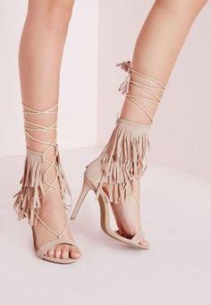 Sandales à talon nude avec franges