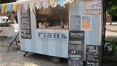 Fish and chips van in Albert Square for Manchester International Festival Traditional Fish And Chips, Mobile Cafe, Wedding Ideas To Make, Food Vans, Disney Up, Air Festival, Food Trailer, Summer Bbq, Cute Food