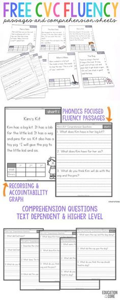 These FREE CVC Fluency passages are great for kindergarten and first graders.  Each passage includes targeted CVC words from short vowels. These are great for building readers and teachers are raving about them!