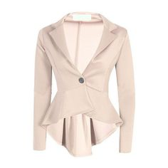 SheIn(sheinside) Apricot Lapel Single Button Dip Hem Blazer (5.205 HUF) ❤ liked on Polyvore featuring outerwear, jackets, blazers, shein, apricot, short-sleeve blazers, pink blazer, lapel jacket, pink jacket and pink fitted blazer