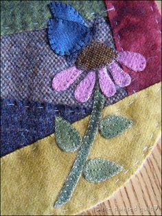 crazy quilt wool pincushion