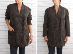 Trendy Wool Coat Jacket / Brown &Black Chevron by JeannetteVintage, €40.00